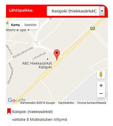 Onnibussin rannikkoreitti kulkee Kalajoen läpi. Bussi pysähtyy Hiekkasärkilla 8-tien ja Matkailutien liittymässä.