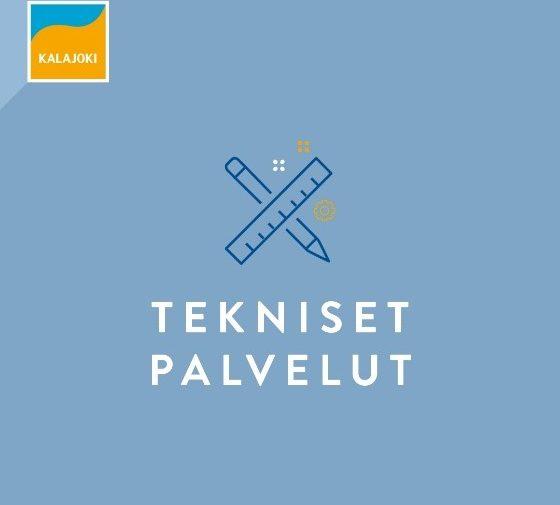 Tekniset palvelut logo, jossa viivain ja kynä ristikkäin vaalean sinisellä pohjalla